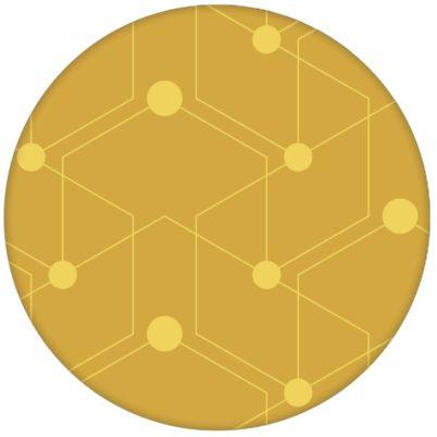 """Auffallende Ornament Tapete """"Celestial Dots"""" großes Muster in gelb Vliestapete grafische Wandgestaltung aus den Tapeten Neuheiten Exklusive Tapete für schönes Wohnen als Naturaltouch Luxus Vliestapete oder Basic Vliestapete"""