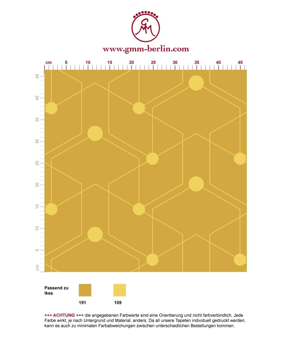 """Auffallende grafische Tapete """"Celestial Dots"""" großes Muster in gelb angepasst an Ikea Wandfarben - Vliestapete Grafisch  3"""
