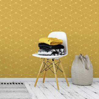 "Wandtapete gelb: Auffallende grafische Tapete ""Celestial Dots"" großes Muster in gelb angepasst an Ikea Wandfarben - Vliestapete Grafisch"