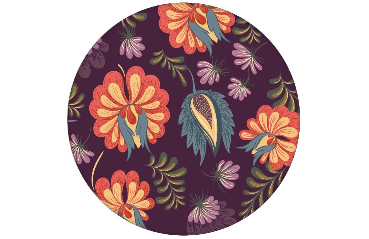 Schöne Blumentapete mit großen Blüten auf lila violett Vliestapete Blumen Wandgestaltungaus dem GMM-BERLIN.com Sortiment: lila Tapete zur Raumgestaltung: #blueten #blumen #lila #Nostalgie #RAL #tapete für individuelles Interiordesign
