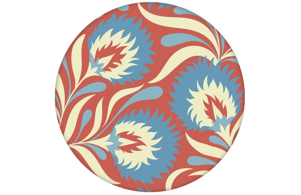 rot hellblau Jugendstil Blumen Tapete mit großen Blüten Vliestapete Wandgestaltung aus den Tapeten Neuheiten Blumentapeten und Borten als Naturaltouch Luxus Vliestapete oder Basic Vliestapete