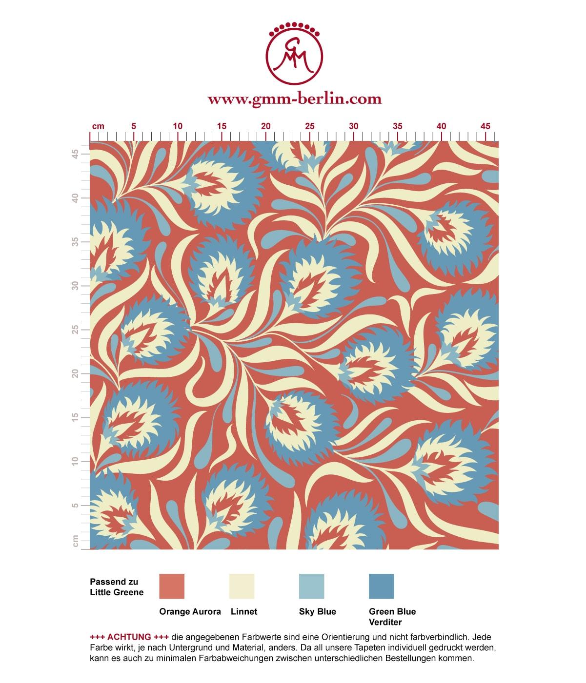 rot hellblau Jugendstil Tapete mit großen Blüten angepasst an Farrow & Ball Wandfarben. Aus dem GMM-BERLIN.com Sortiment: Schöne Tapeten in der Farbe: rot
