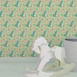Wandtapete erbsen grün: Grüne Kinder Tapete mit kleinen Drachen im Zauberwald angepasst an Little Greene Wandfarben- Vliestapete Figuren
