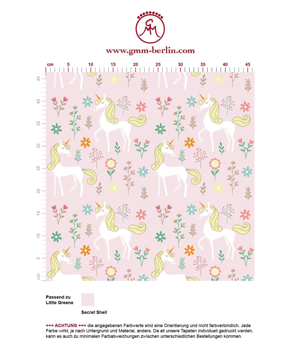 Kinder Traum Tapete mit magischem Einhorn auf rosa angepasst an Little Greene Wandfarben. Aus dem GMM-BERLIN.com Sortiment: Schöne Tapeten in der Farbe: hell rosa