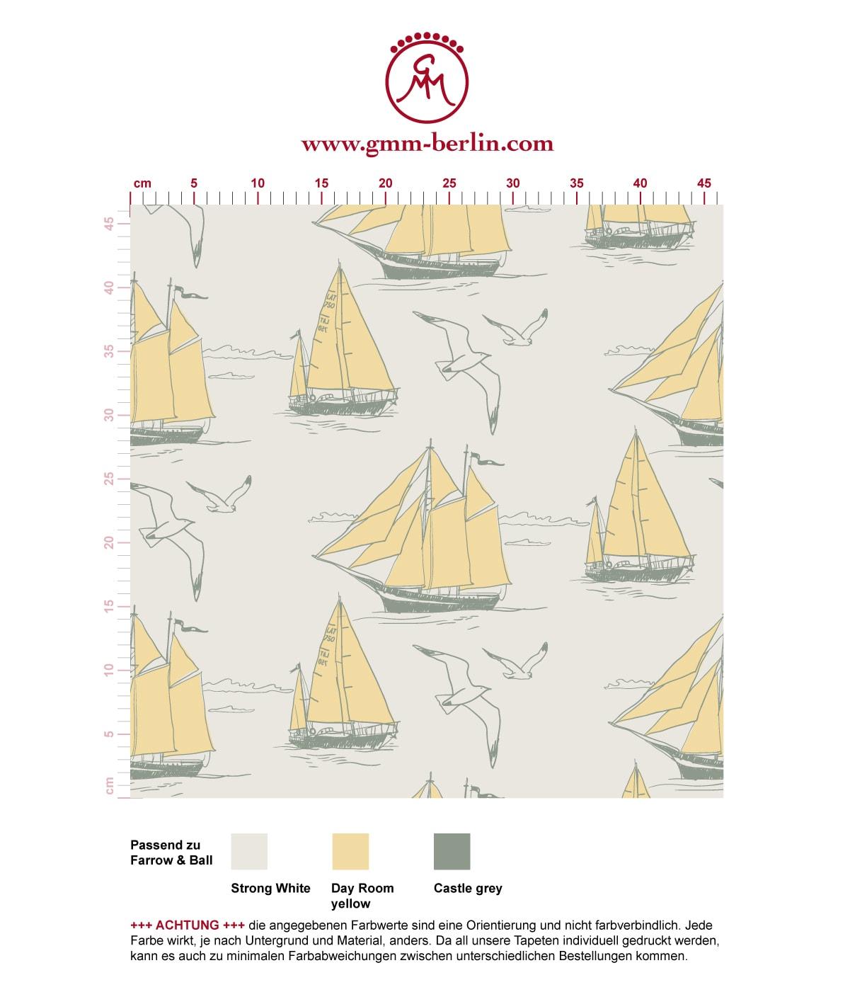 """Sonnige Segler Tapete """"Die Regatta"""" mit Segelbooten und Möwen auf gelb angepasst an Farrow and Ball Wandfarben- Vliestapete Tiere, Kinder"""