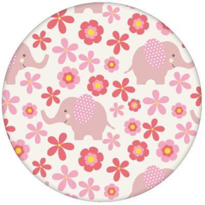 """Süße 70er Jahre Kinder Babytapete """"Elephant Power"""" mit Blumen und Elefanten in rosa Vliestapete Babyzimmer"""