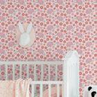 """Süße 70er Jahre Kinder Baby Tapete """"Elephant Power"""" mit Blumen und Elefanten in rosa angepasst an Farrow and Ball Wandfarben- Vliestapete Tiere"""