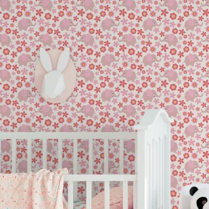 """Wandtapete pink: Süße 70er Jahre Kinder Baby Tapete """"Elephant Power"""" mit Blumen und Elefanten in rosa angepasst an Farrow and Ball Wandfarben- Vliestapete Tiere"""