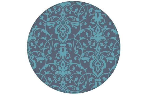Edle blaue Ornament Tapete mit klassischem Damast Muster Vliestapete
