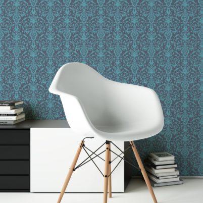 Edle blaue Tapete mit klassischem Damast Muster angepasst an Little Greene Wandfarben- Vliestapete Ornamente