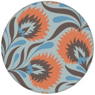 Schöne Jugendstil Blumen Tapete mit großen Blüten in hellblau Vliestapete Vintage