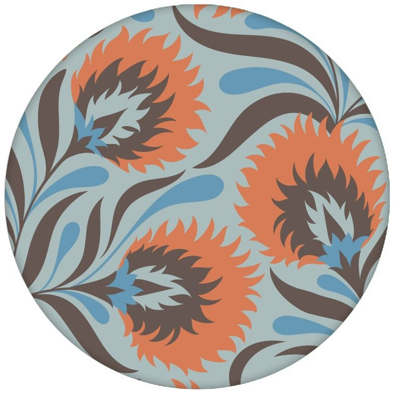 Schöne Jugendstil Blumen Tapete mit großen Blüten in hellblau Vliestapete Vintageaus dem GMM-BERLIN.com Sortiment: orange Tapete zur Raumgestaltung: #blueten #blumen #hellblau #Jugendstil #Little Greene #tapete für individuelles Interiordesign
