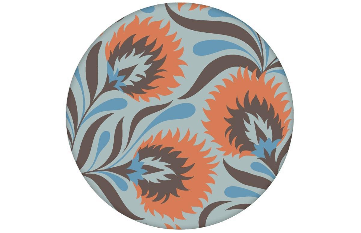 Besonders schöne Jugendstil Tapete mit großen Blüten in hellblau angepasst an Little Greene Wandfarben - Vliestapete Blumen