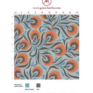 Besonders schöne Jugendstil Tapete mit großen Blüten in hellblau angepasst an Little Greene Wandfarben. Aus dem GMM-BERLIN.com Sortiment: Schöne Tapeten in der Farbe: Orange