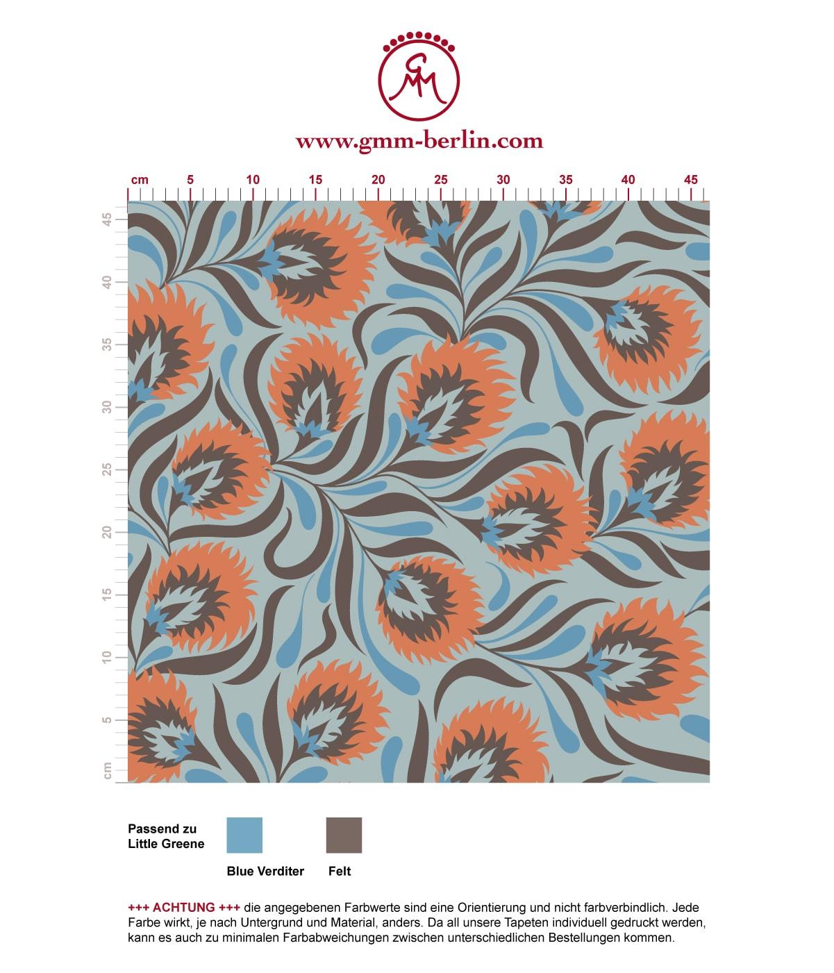 Besonders schöne Jugendstil Tapete mit großen Blüten in hellblau angepasst an Little Greene Wandfarben - Vliestapete Blumen 3