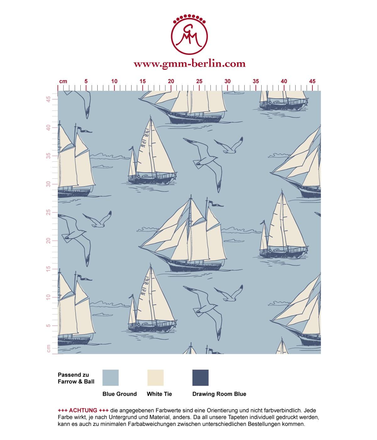 """""""Die Regatta"""" - klassische Segler Tapete """"Die Regatta"""" mit Segelbooten und Möwen auf blau angepasst an Farrow and Ball Wandfarben- Vliestapete Tiere, Kinder"""