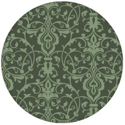 Klassische Ornament Tapete mit üppigem Damast Muster auf grün Vliestapete