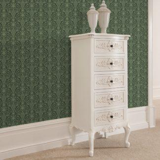 Klassische Tapete mit üppigem Damast Muster auf grün angepasst an Farrow and Ball Wandfarben- Vliestapete Ornamente
