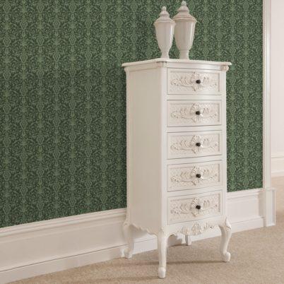 Wandtapete grün: Klassische Tapete mit üppigem Damast Muster auf grün angepasst an Farrow and Ball Wandfarben- Vliestapete Ornamente