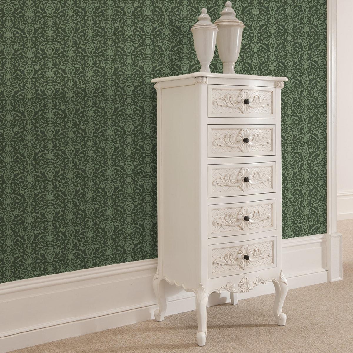 Klassische Tapete mit üppigem Damast Muster auf grün angepasst an Farrow and Ball Wandfarben- Vliestapete Ornamente  2