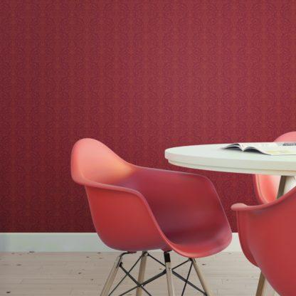 Wandtapete rot: Rote edle Tapete mit klassischem Damast Muster angepasst an Farrow and Ball Wandfarben- Vliestapete Ornamente