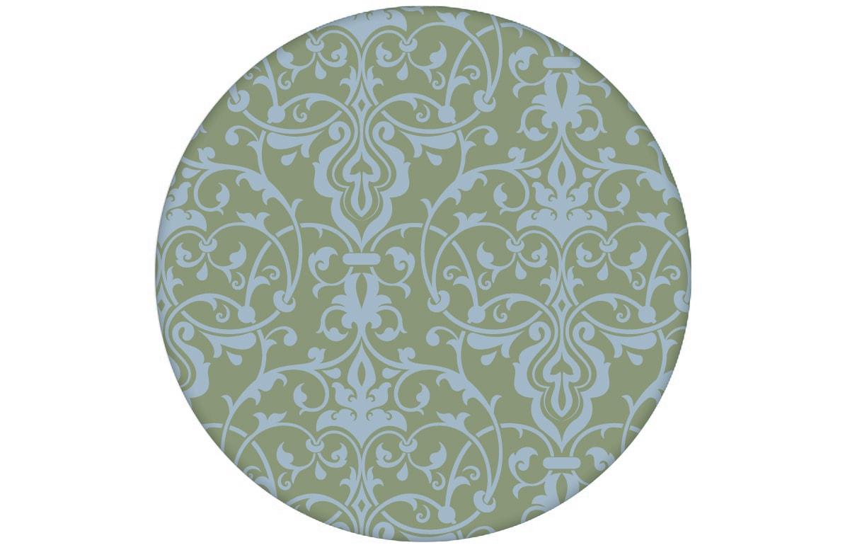 Schöne, üppige Tapete mit klassischem Damast Muster in hellblau grün angepasst an Farrow and Ball Wandfarben- Vliestapete Ornamente