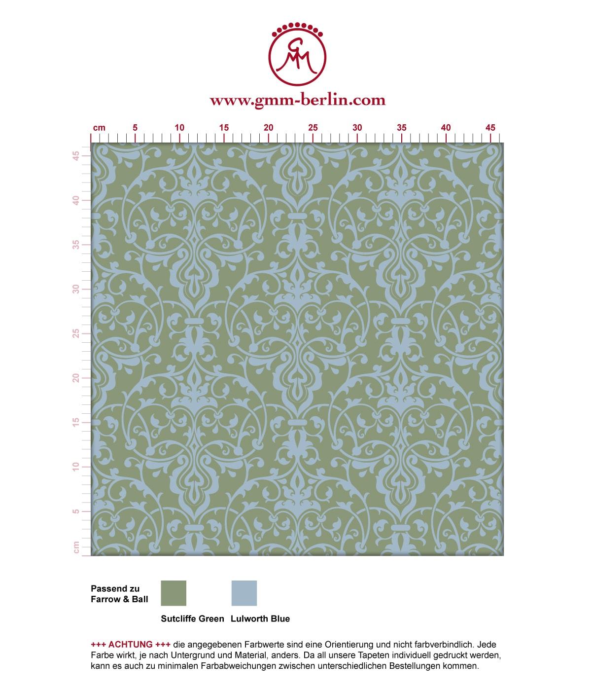 Schöne, üppige Tapete mit klassischem Damast Muster in hellblau grün angepasst an Farrow and Ball Wandfarben- Vliestapete Ornamente  3