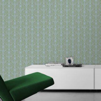 Wandtapete hellblau: Schöne, üppige Tapete mit klassischem Damast Muster in hellblau grün angepasst an Farrow and Ball Wandfarben- Vliestapete Ornamente