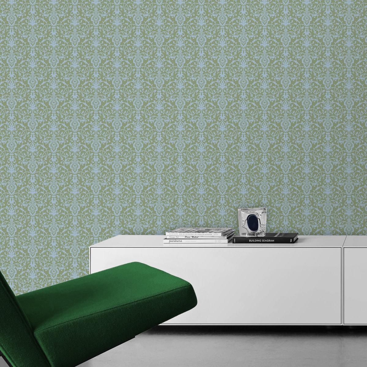 Schöne, üppige Tapete mit klassischem Damast Muster in hellblau grün angepasst an Farrow and Ball Wandfarben- Vliestapete Ornamente  2