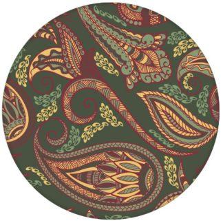 """Edle oliv grüne Design Tapete """"Grand Paisley"""" mit großem dekorativem Blatt Muster für Wohnzimmer"""