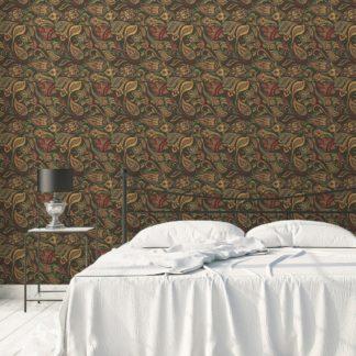 """Edle oliv grüne Designer Tapete """"Grand Paisley"""" mit großem dekorativem Blatt Muster angepasst an Farrow and Ball Wandfarbe"""