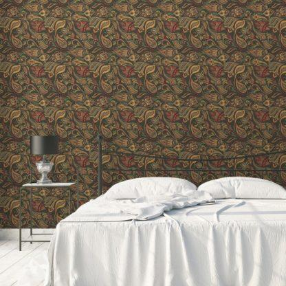 "Wandtapete dunkel grün: Edle oliv grüne Designer Tapete ""Grand Paisley"" mit großem dekorativem Blatt Muster angepasst an Farrow and Ball Wandfarbe"