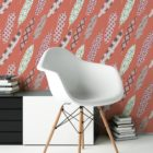 "Rote moderne Tapete ""Fancy Feathers"" mit dekorativem Feder Muster angepasst an Little Greene Wandfarben"
