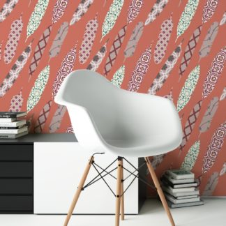 "Rote moderne Tapete ""Fancy Feathers"" mit dekorativem Feder Muster angepasst an Little Greene Wandfarben"