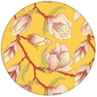 """Sonnige gelbe Blumen Tapete """"Blooming Magnolia"""" mit blühender Magnolie für Wohnhzimmer aus den Tapeten Neuheiten Blumentapeten und Borten als Naturaltouch Luxus Vliestapete oder Basic Vliestapete"""
