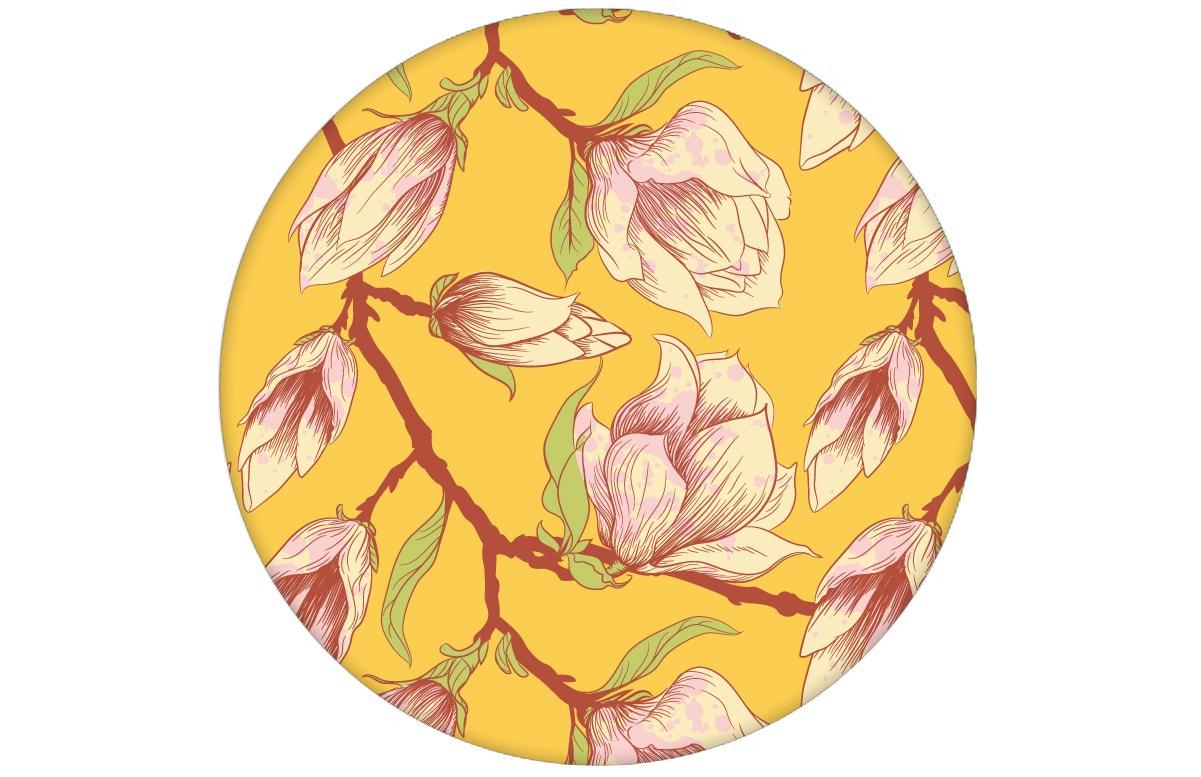 """Sonnige gelbe Blumen Tapete """"Blooming Magnolia"""" mit blühender Magnolie für Wohnhzimmer"""