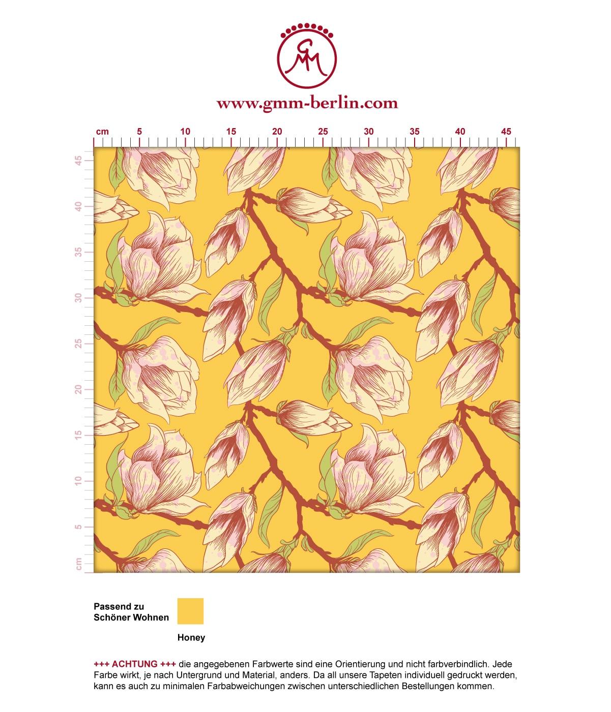 """Sonnige gelbe Blüten Tapete """"Blooming Magnolia"""" mit blühender Magnolie angepasst an Schöner Wohnen Wandfarben 3"""