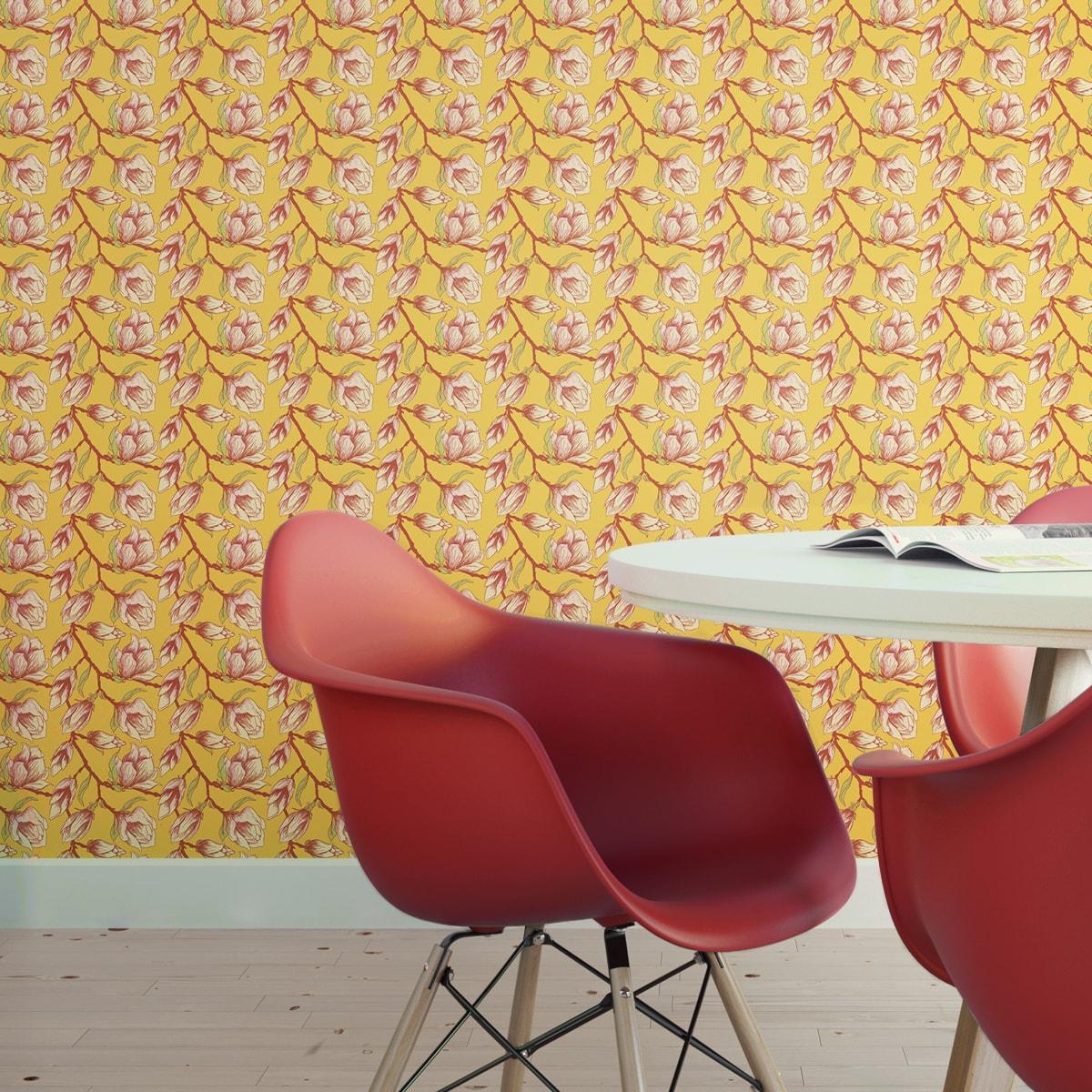 """Wandtapete gelb: Sonnige gelbe Blüten Tapete """"Blooming Magnolia"""" mit blühender Magnolie angepasst an Schöner Wohnen Wandfarben"""