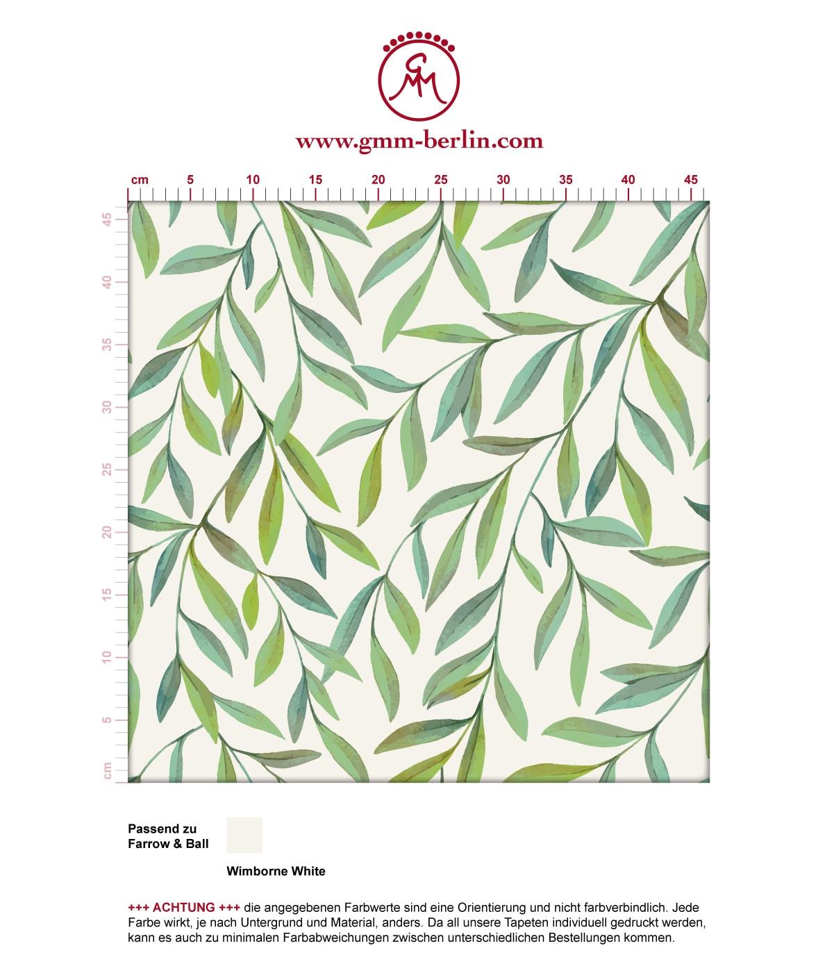 """Helle schöne Weiden Tapete """"Magic Willow"""" mit Blätter Dekor angepasst an Farrow and Ball Wandfarben 3"""