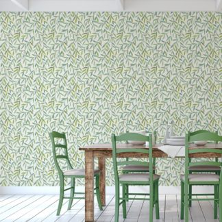 """Helle schöne Weiden Tapete """"Magic Willow"""" mit Blätter Dekor angepasst an Farrow and Ball Wandfarben"""