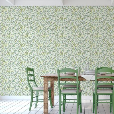 """Helle schöne Weiden Vliestapete """"Magic Willow"""" mit Blätter für Wohnzimmer Wandgestaltung"""