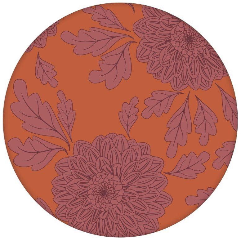 """Eleganter Tapeten Klassiker orange """"Pompadour Dahlien"""" mit edlen Blüten für Wohnzimmer"""
