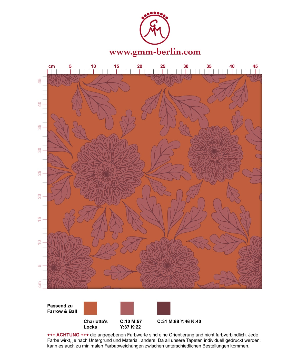 """Eleganter Tapeten Klassiker orange """"Pompadour Dahlien"""" mit edlen Blüten angepasst an Farrow and Ball Wandfarben  3"""