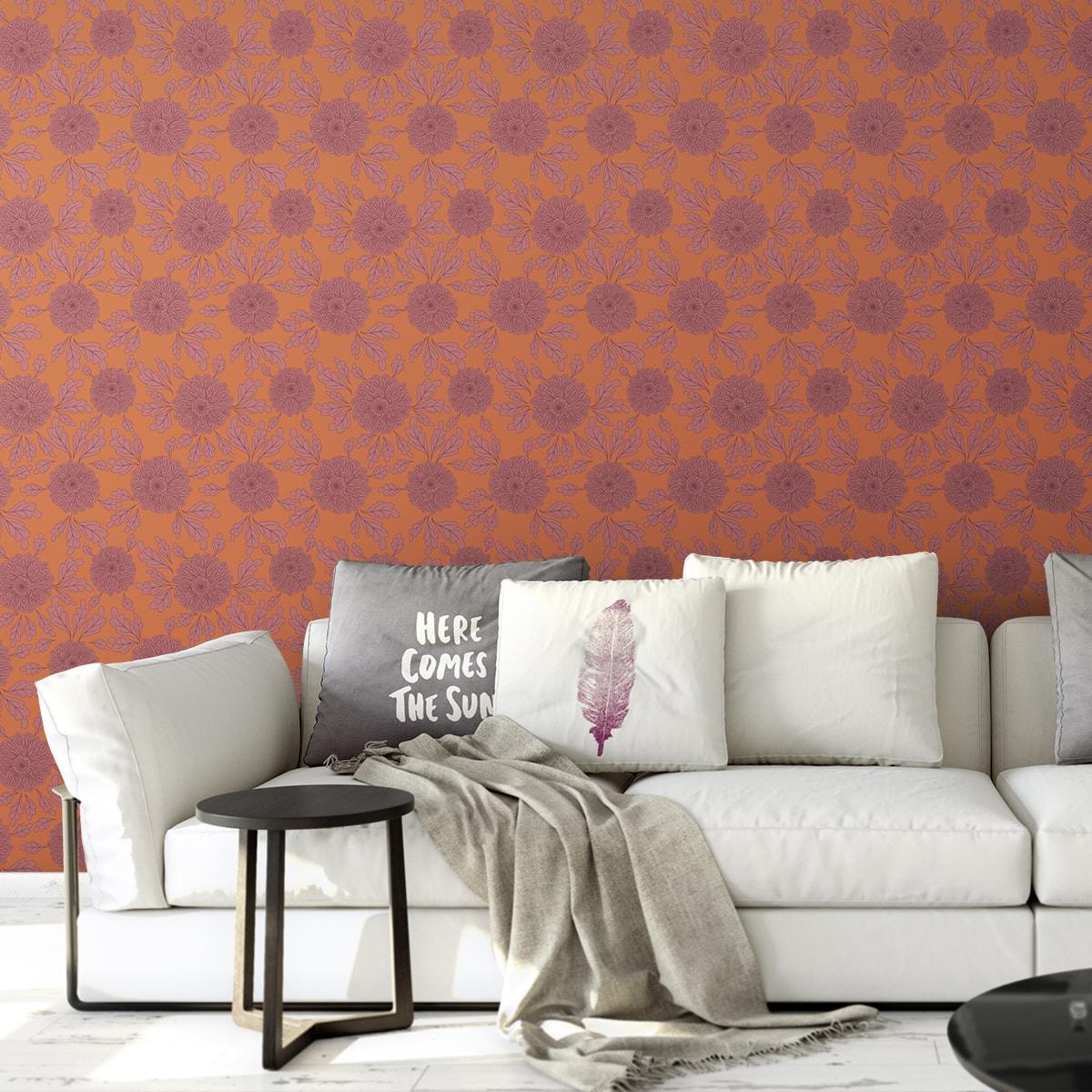 """Eleganter Tapeten Klassiker orange """"Pompadour Dahlien"""" mit edlen Blüten angepasst an Farrow and Ball Wandfarben  2"""
