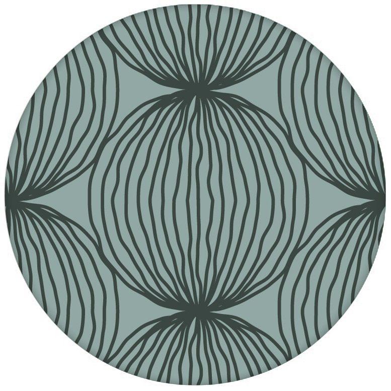 "Grüne moderne Design Tapete ""Grafic Pompoms"" mit Kreis Kugel Motiv Wandgestaltungaus dem GMM-BERLIN.com Sortiment: blaue Tapete zur Raumgestaltung: #Arbeitszimmer #Büro #Design #Farrow and Ball #grafisch #gruen #kreise #kueche #Kugeln #modern für individuelles Interiordesign"