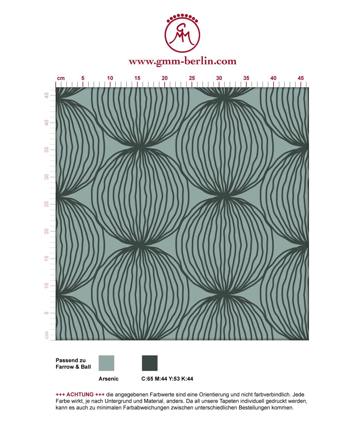 """Grüne moderne Designer Tapete """"Grafic Pompoms"""" mit Kreis Kugel Motiv angepasst an Farrow and Ball Wandfarben 3"""