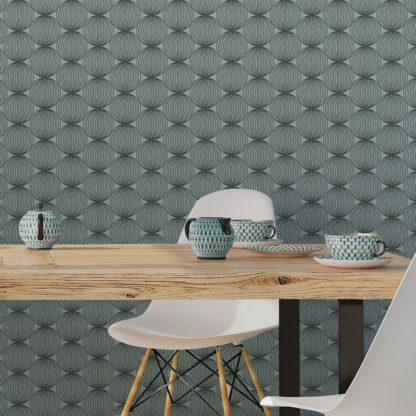 "Wandtapete grün blau: Grüne moderne Designer Tapete ""Grafic Pompoms"" mit Kreis Kugel Motiv angepasst an Farrow and Ball Wandfarben"