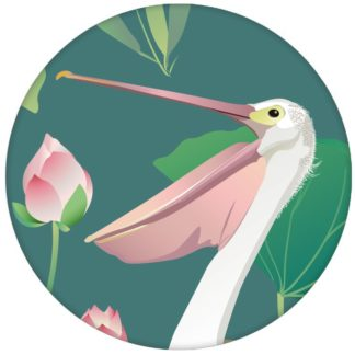 """Grüne Vogel Tapete """"Pelican Pond"""" mit Pelikanen und Seerosen Vlies Wandgestaltung"""