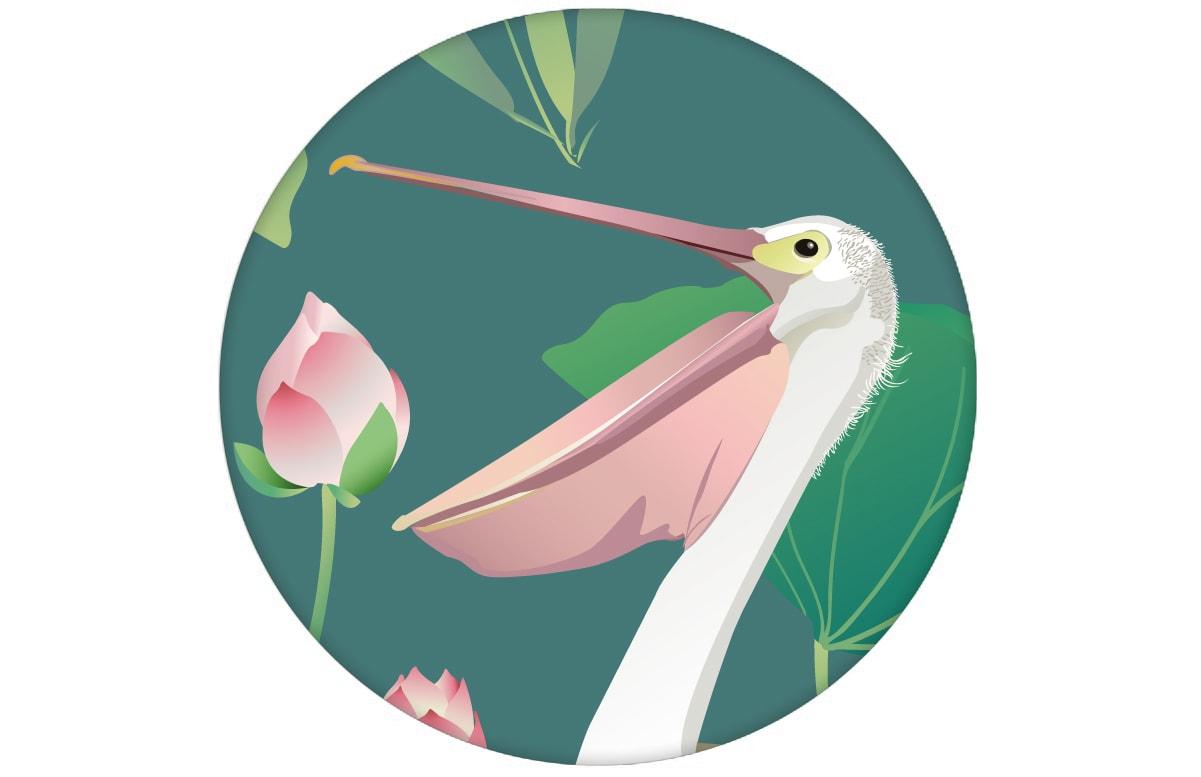 """Grüne Vogel Tapete """"Pelican Pond"""" mit Pelikanen und Seerosen angepasst an Little Greene Wandfarben"""