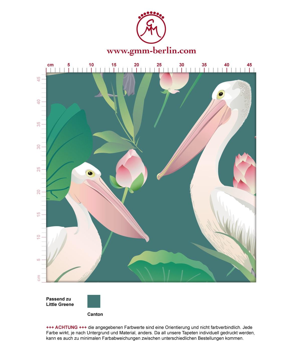 """Grüne Vogel Tapete """"Pelican Pond"""" mit Pelikanen und Seerosen angepasst an Little Greene Wandfarben  3"""